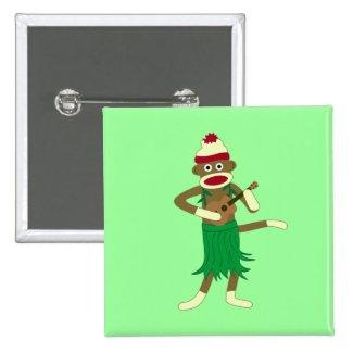 Sock Monkey Playing Ukulele Square Button