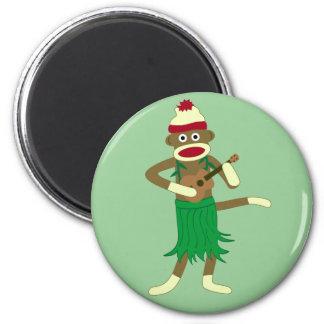 Sock Monkey Ukulele 2 Inch Round Magnet