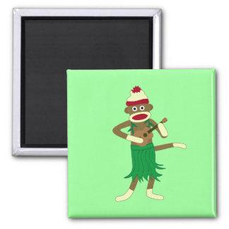 Sock Monkey Ukulele 2 Inch Square Magnet