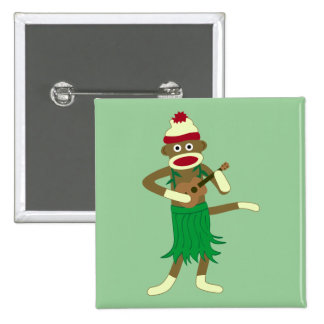 Sock Monkey Ukulele Pinback Button