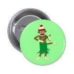 Sock Monkey Ukulele Pinback Button