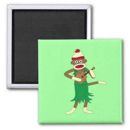 Sock Monkey Ukulele Refrigerator Magnet