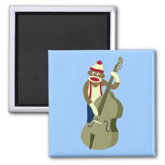 Sock Monkey Upright Bass Player 2 Inch Square Magnet