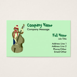 Sock Monkey Upright Bass Player Business Card