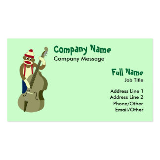 Sock Monkey Upright Bass Player Business Card
