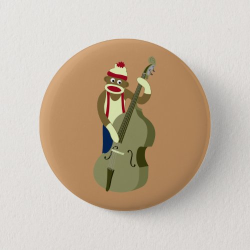 Sock Monkey Upright Bass Player Standard Round Button