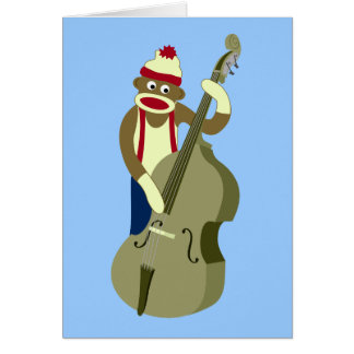 Sock Monkey Upright Bass Player Card