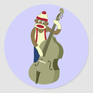 Sock Monkey Upright Bass Player Classic Round Sticker