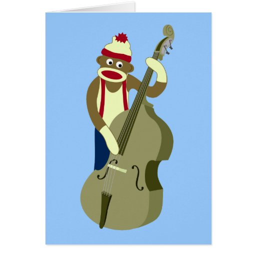 Sock Monkey Upright Bass Player Greeting Cards