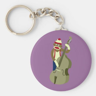 Sock Monkey Upright Bass Player Keychain