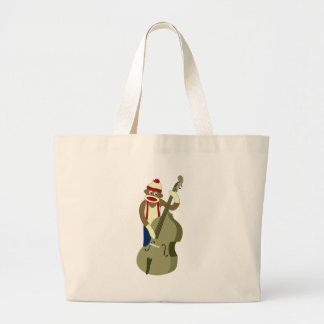 Sock Monkey Upright Bass Player Large Tote Bag