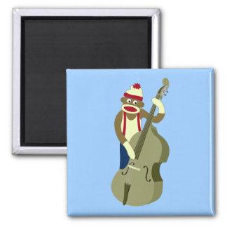 Sock Monkey Upright Bass Player Magnet