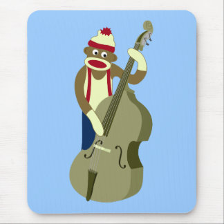 Sock Monkey Upright Bass Player Mouse Pad