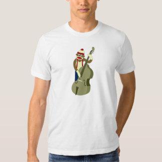 Sock Monkey Upright Bass Player Tee Shirt