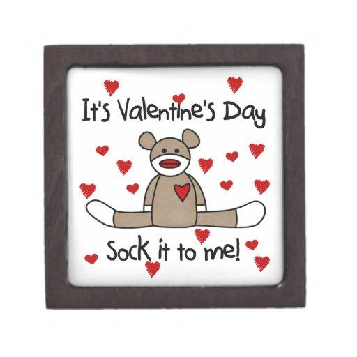 Sock Monkey Valentine Keepsake Box Premium Jewelry Boxes