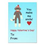 "Sock Monkey Valentine's Day card for kids 3.5"" X 5"" Invitation Card"