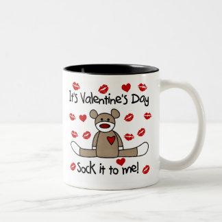 Sock Monkey Valentines Day Two-Tone Coffee Mug