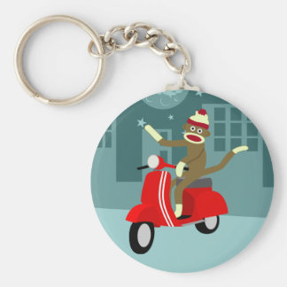 Sock Monkey Vespa Scooter Basic Round Button Keychain