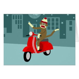 Sock Monkey Vespa Scooter Card