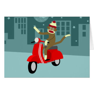 Sock Monkey Vespa Scooter Greeting Card