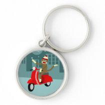 Sock Monkey Vespa Scooter Keychain
