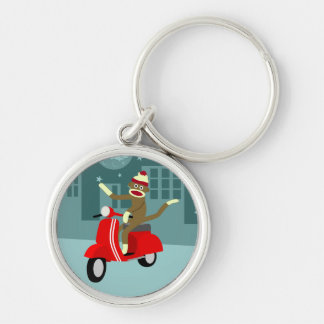 Sock Monkey Vespa Scooter Silver-Colored Round Keychain