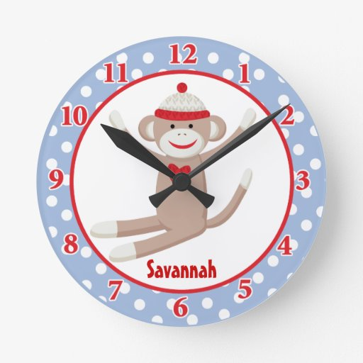 Sock Monkey Wall Clock (Blue) Add a Name