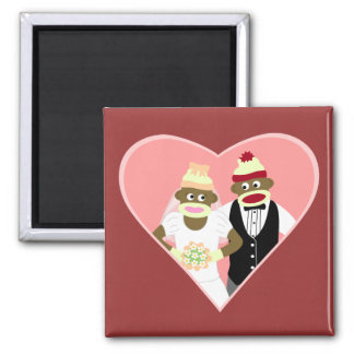 Sock Monkey Wedding 2 Inch Square Magnet