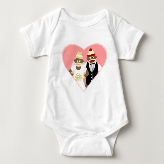 Sock Monkey Wedding Baby Bodysuit