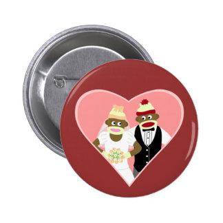 Sock Monkey Wedding Button