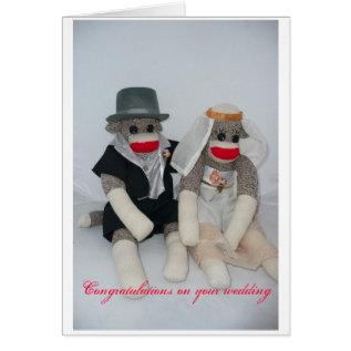 Sock Monkey Wedding Card at Zazzle