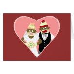 Sock Monkey Wedding Greeting Cards