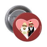 Sock Monkey Wedding Pinback Button