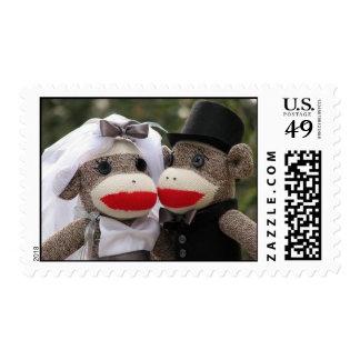 Sock Monkey Wedding Postage