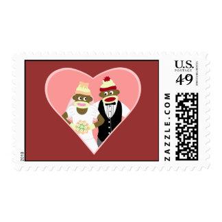 Sock Monkey Wedding Stamp