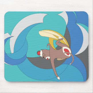 Sock Monkey went Surfing Bananas Mouse Pad