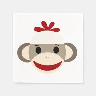 Sock Monkey White Paper Napkins