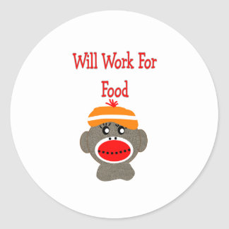 Sock monkey WILL WORK FOR FOOD Gifts Stickers
