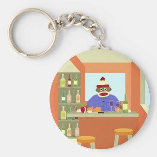 Sock Monkey Wine Taster Basic Round Button Keychain