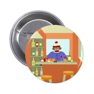 Sock Monkey Wine Taster Pinback Button