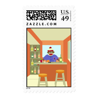 Sock Monkey Wine Tasting Postage Stamp
