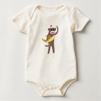 Sock Monkey with Banana Swords Baby Baby Bodysuits