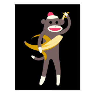Sock Monkey with Banana Swords Postcards