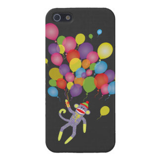 Sock Monkey with colorful balloons Cover For iPhone SE/5/5s