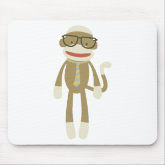 Sock monkey with glasses mouse pad