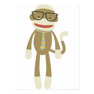 Sock monkey with glasses postcard