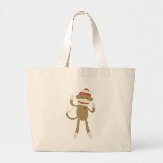 Sock monkey with heart canvas bag