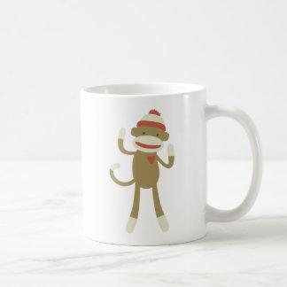 Sock monkey with heart coffee mug