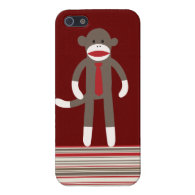 Sock Monkey with Tie Red Tan Striped iPhone 5 Case