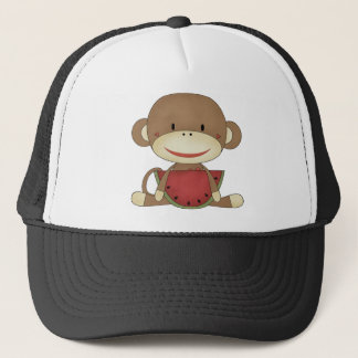 Sock monkey with watermelon trucker hat